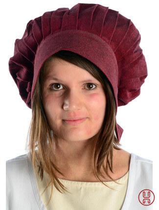 Mittelalter Haube mit Schild Baumwolle rot - Frontansicht