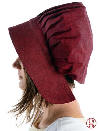 Mittelalter Haube mit Schild Baumwolle rot - Seitenansicht