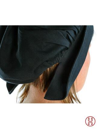 Mittelalter Haube mit Schild Baumwolle schwarz - Detailansicht