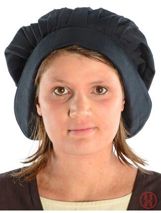 Mittelalter Haube mit Schild Baumwolle schwarz - Frontansicht