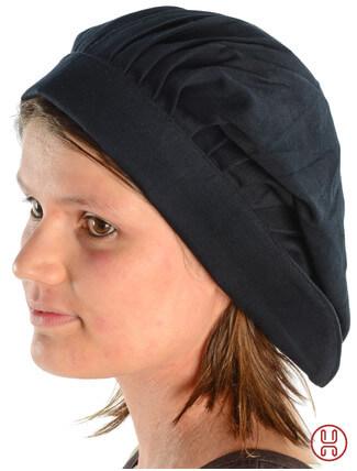 Mittelalter Haube mit Schild Baumwolle schwarz - Seitenansicht