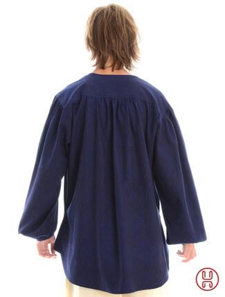 Mittelalterhemd kragenloses Bauernhemd in blau - Rückansicht