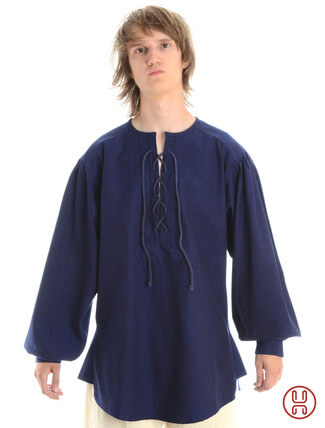 Mittelalterhemd kragenloses Bauernhemd in blau - Frontansicht