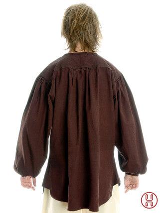 Mittelalterhemd kragenloses Bauernhemd in braun - Rückansicht