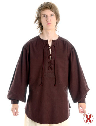 Mittelalterhemd kragenloses Bauernhemd in braun - Frontansicht