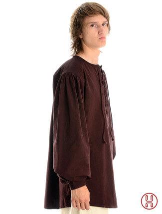 Mittelalterhemd kragenloses Bauernhemd in braun - Seitenansicht