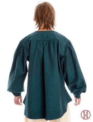Mittelalterhemd kragenloses Bauernhemd in grün - Rückansicht