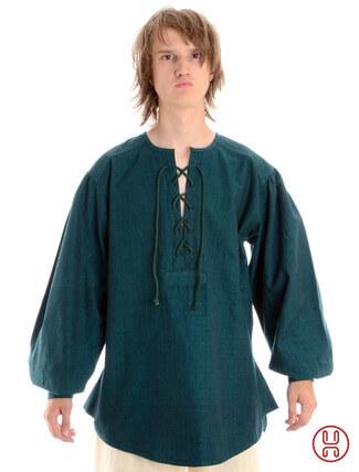 Mittelalterhemd kragenloses Bauernhemd in grün - Frontansicht