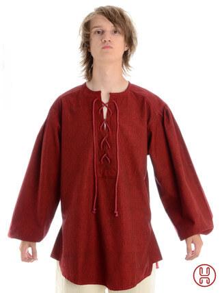 Mittelalterhemd kragenloses Bauernhemd in dunkelrot - Frontansicht