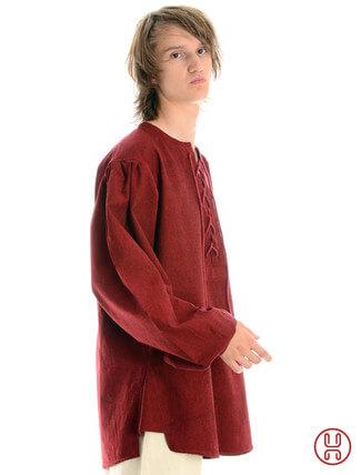 Mittelalterhemd kragenloses Bauernhemd in dunkelrot - Seitenansicht