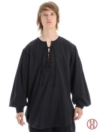 Mittelalterhemd kragenloses Bauernhemd in schwarz - Frontansicht