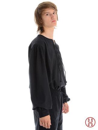 Mittelalterhemd kragenloses Bauernhemd in schwarz - Seitenansicht