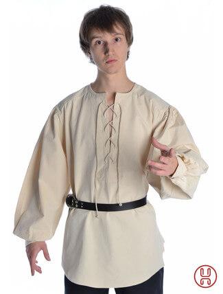 Mittelalterhemd kragenloses Bauernhemd in weiss-naturbeige - Frontansicht