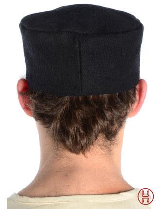 Mittelalter Kappe Wollfilz schwarz - Rueckansicht