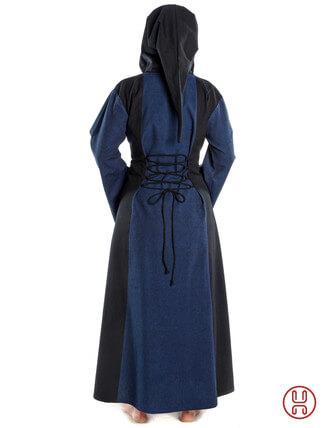 Mittelalter Kleid mit Gugel-Kapuze blau-schwarz - Rückansicht