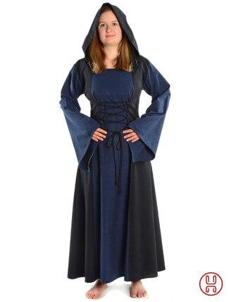 Mittelalter Kleid mit Gugel-Kapuze blau-schwarz - Frontansicht