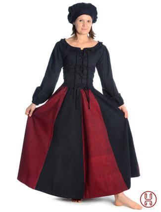 Mittelalter Rock zweifarbig rot-schwarz - Frontansicht