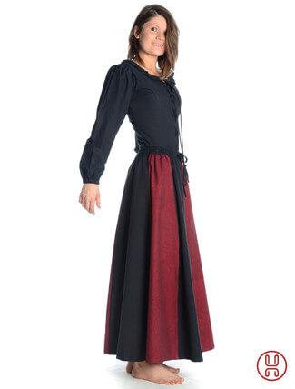 Mittelalter Rock zweifarbig rot-schwarz - Seitenansicht