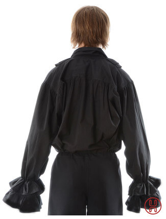 Rüschenhemd in schwarz - Rückansicht