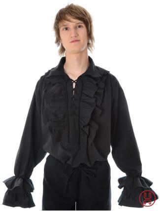 Rüschenhemd in schwarz - Frontansicht