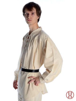 Mittelalter Hemd Schnürhemd in natur-beige - Seitenansicht