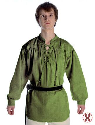 Mittelalter Hemd Schnürhemd in oliv-grün - Frontansicht