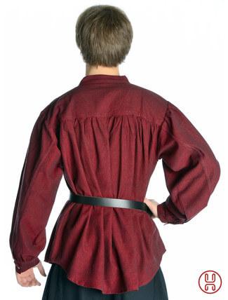 Mittelalter Hemd Schnürhemd in rot - Rückansicht