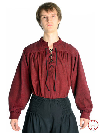 Mittelalter Hemd Schnürhemd in rot - Frontansicht