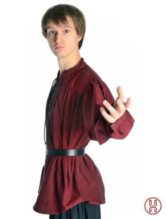 Mittelalter Hemd Schnürhemd in rot - Seitenansicht