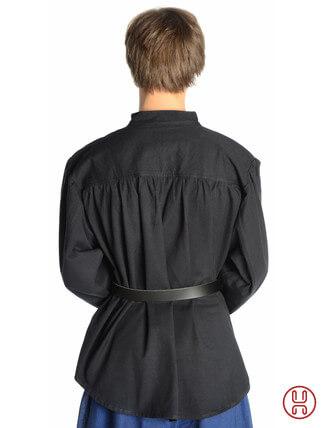 Mittelalter Hemd Schnürhemd in schwarz - Rückansicht