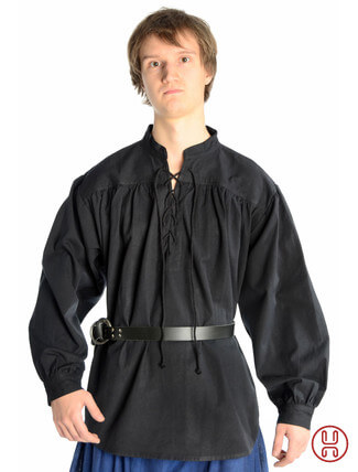 Mittelalter Hemd Schnürhemd in schwarz - Frontansicht
