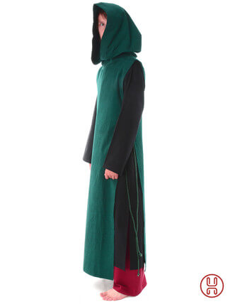 Mittelalter Überwurf Skapulier mit Kapuze seitlich zu schnüren grün - Seitenansicht