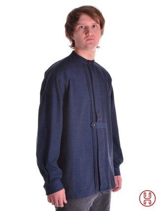 Mittelalter Hemd Typ Loisach blau - Seitenansicht