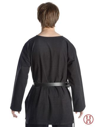 mittelalter tunika mit rundkragen kurz in schwarz - rueckansicht