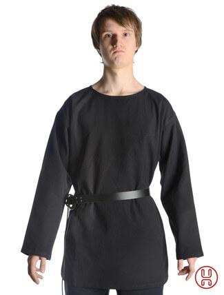 mittelalter tunika mit rundkragen kurz in schwarz - Frontansicht