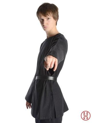 mittelalter tunika mit rundkragen kurz in schwarz - seitenansicht