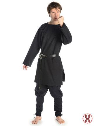 mittelalterliche Tunika mit Rundkragen mittellang in schwarz - Frontansicht