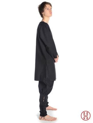tunika mittelalter mittellang mit schlitzkragen schwarz - seitenansicht