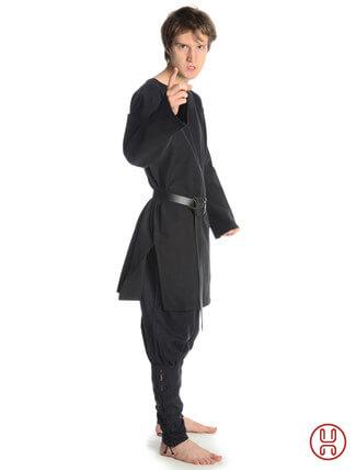 mittelalterliche Tunika mit Rundkragen mittellang in schwarz - Seitenansicht