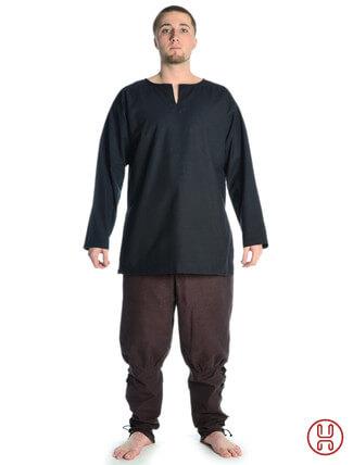mittelalterliche tunika kurz mit schlitzkragen in schwarz - frontansicht