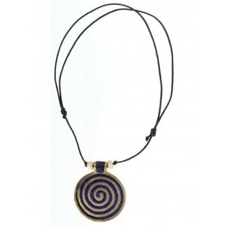Wikinger Halskette Sunna mit Spirale (6 cm) in Blau Frontansicht