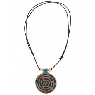 Wikinger Halskette Sunna mit Spirale (6 cm) in Bunt Frontansicht