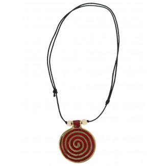 Wikinger Halskette Sunna mit Spirale (6 cm) in Rot Frontansicht