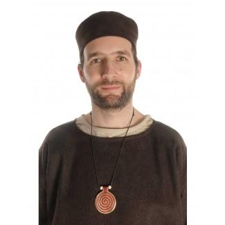 Wikinger Halskette Sunna mit Spirale (6 cm) in Rot Frontansicht 2