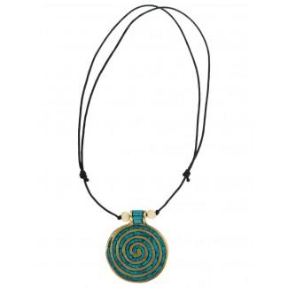 Wikinger Halskette Sunna mit Spirale (6 cm) in Türkis Frontansicht