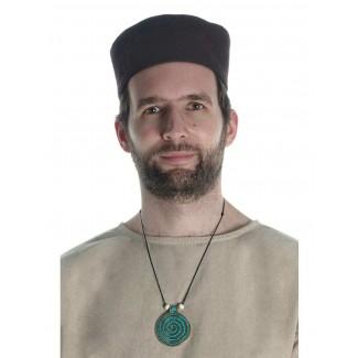 Wikinger Halskette Sunna mit Spirale (6 cm) in Türkis Frontansicht 2