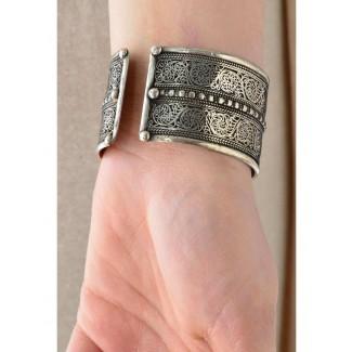 Mittelalter Armreif Melusine aus Weißmetall in Silbern Rückansicht 2