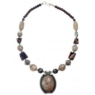 Mittelalter Halskette Isaza aus Weißmetall-Resin in Permutfarben Frontansicht