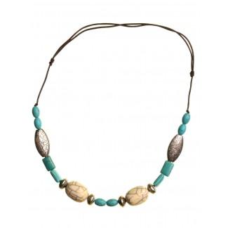 Mittelalter Halskette Frigg aus Weißmetall-Resin in Türkis Frontansicht
