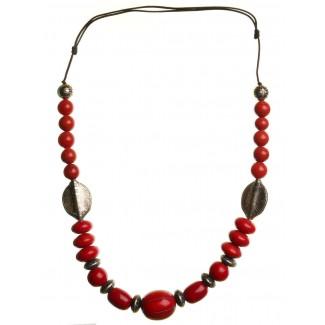 Mittelalter Halskette Saga aus Weißmetall-Resin in Rot Frontansicht
